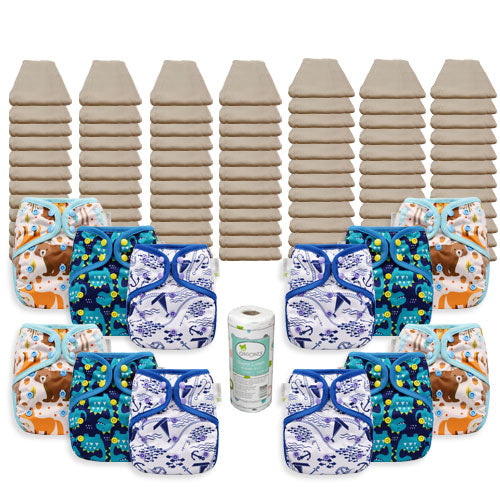 OsoCozy Grande Unbleached Diaper Package with OsoCozy One Size Diaper Covers