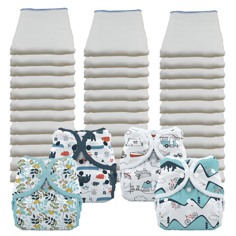 Bleached Economy Prefold Diaper Packages with Thirsties Duo Covers