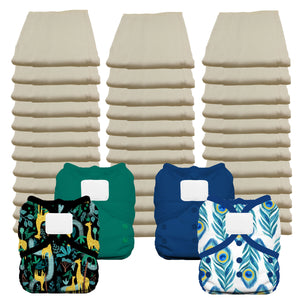 Unbleached Economy Prefold Diaper Package with Thirsties Duo Covers