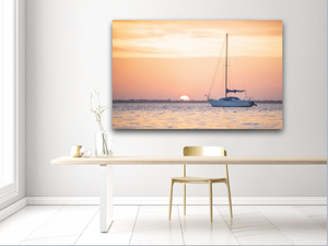 Sailboat at Sunset Large Canvas - 40x30, 40x40, 60x40 (Custom sizes available) - Mary's Mark Photography