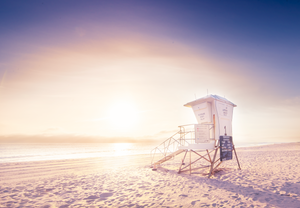 Lifeguard Stand at Sunset Large Canvas - 40x30, 40x40, 60x40 (Custom sizes available) - Mary's Mark Photography