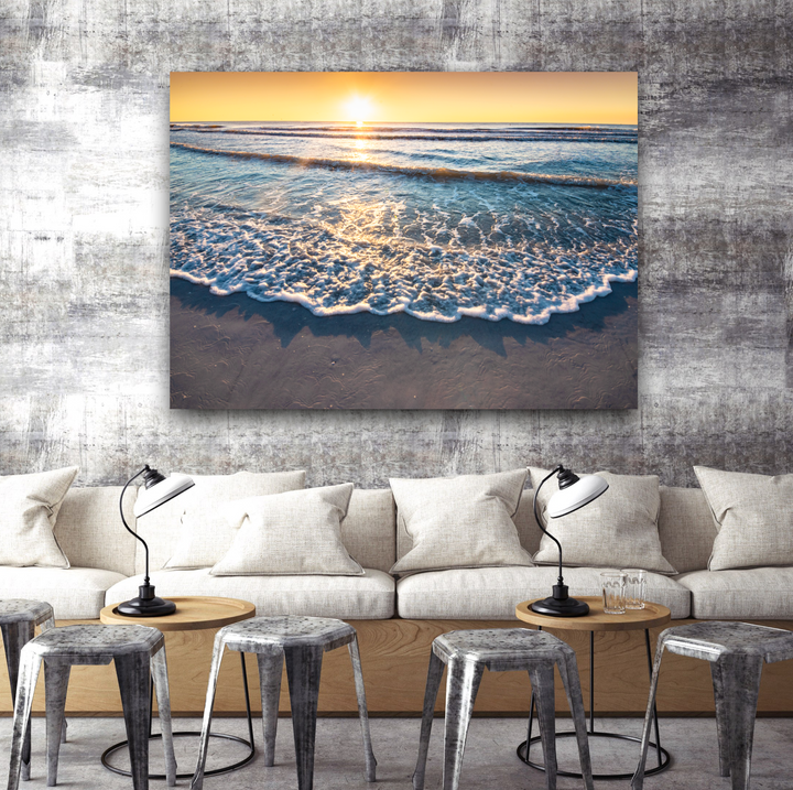 Ocean Sunset Large Canvas - Multi Panel, Single Panels: 40x30, 40x40, 60x40 (Custom sizes available) - Mary's Mark Photography