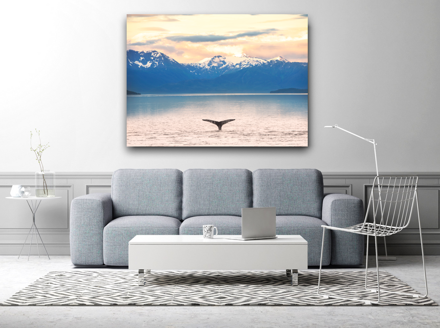 Whale Fluke and Mountains Large Canvas - 40x30, 40x40, 60x40 (Custom sizes available)
