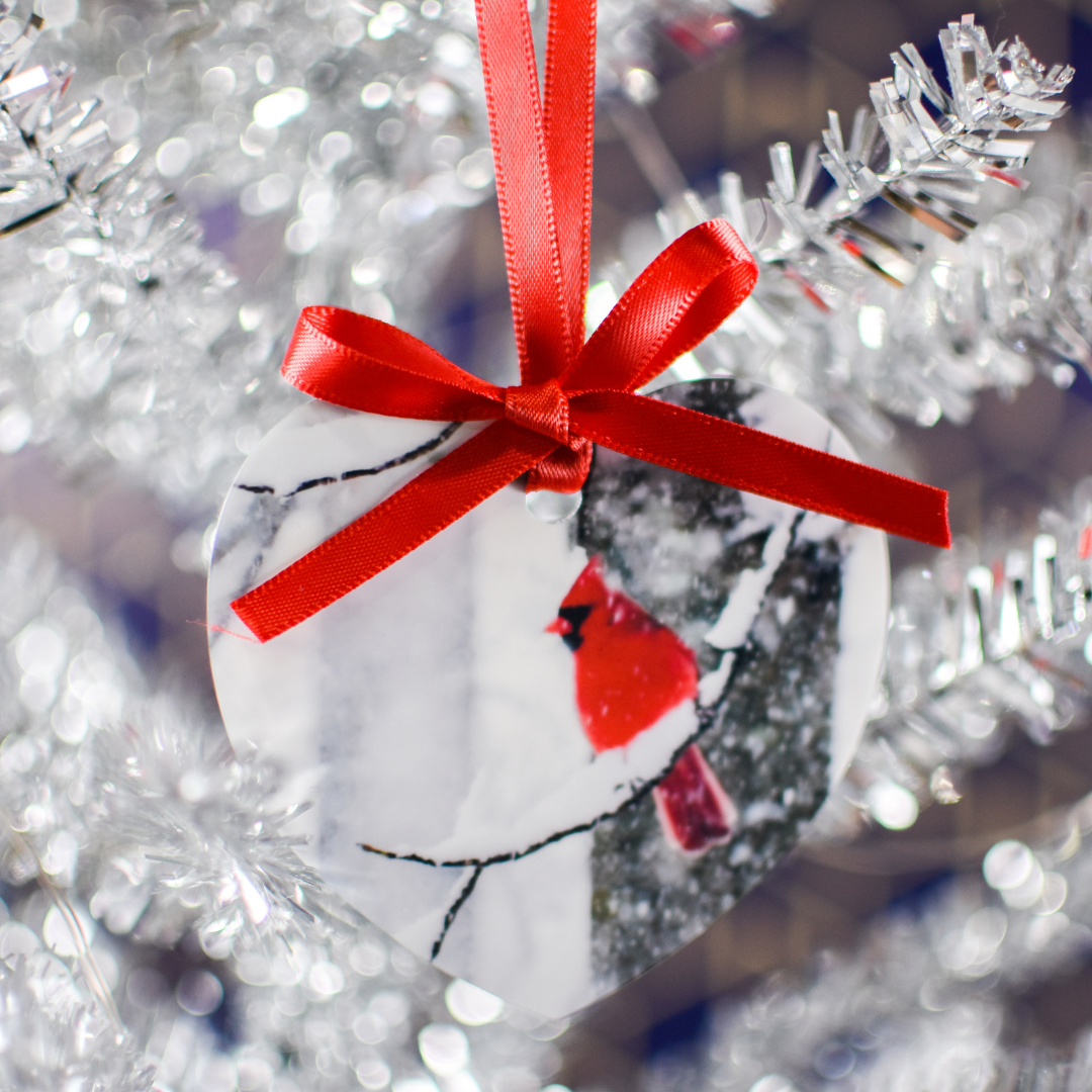 Cardinal Ornament with red ribbon in a silver christmas tree | Wear the Wonder
