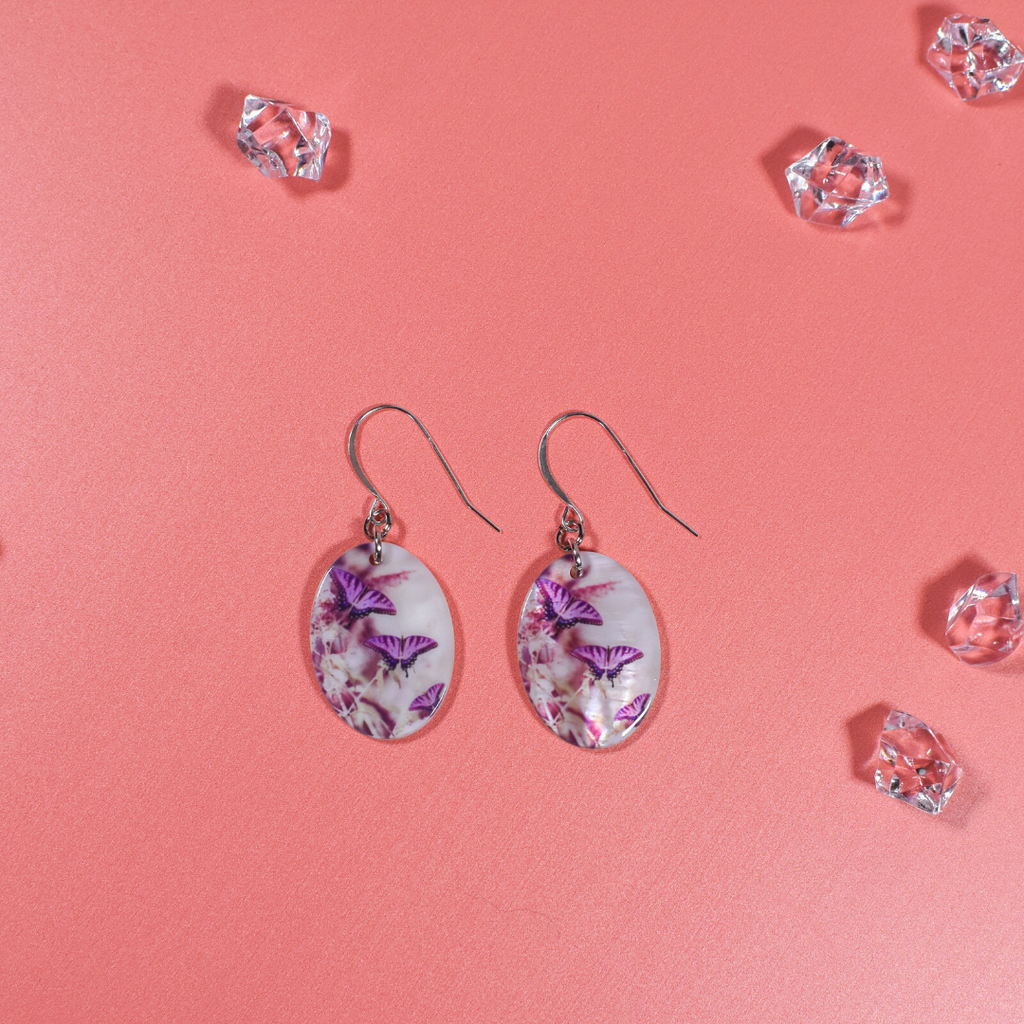 Lavender Butterfly Mother of Pearl earrings - Wear the Wonder