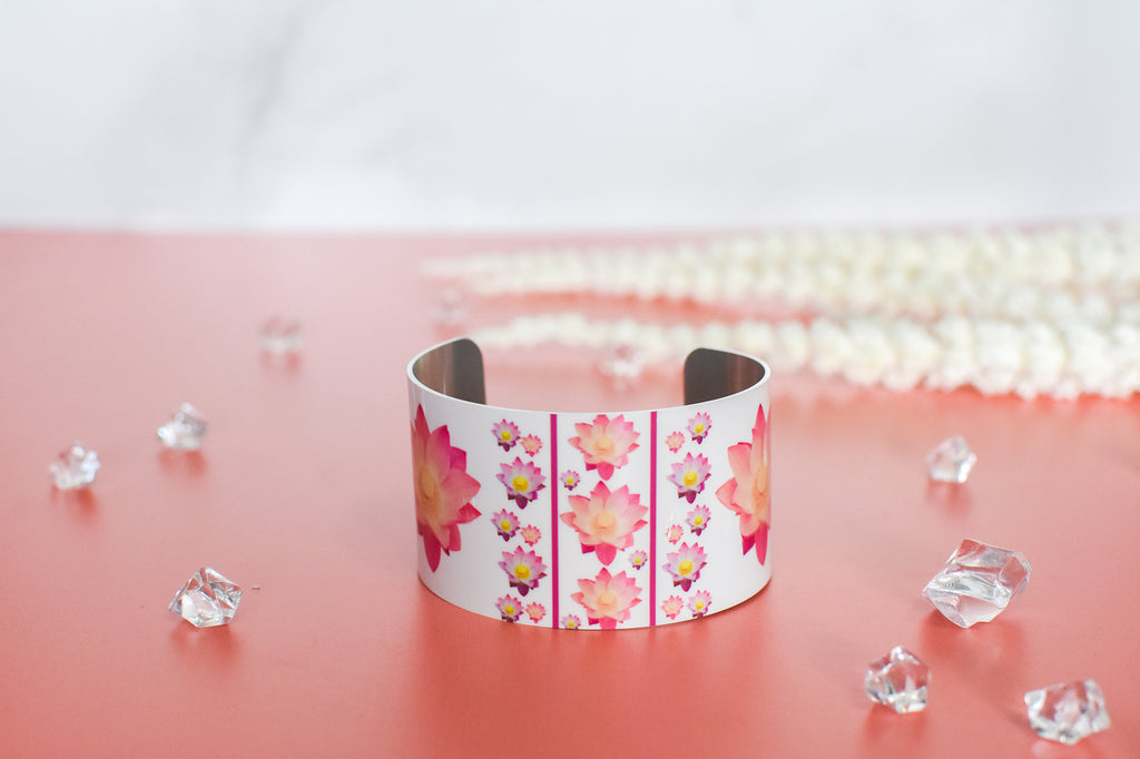 Front View of Pure Heart Lotus Cuff Bracelet | Wear the Wonder