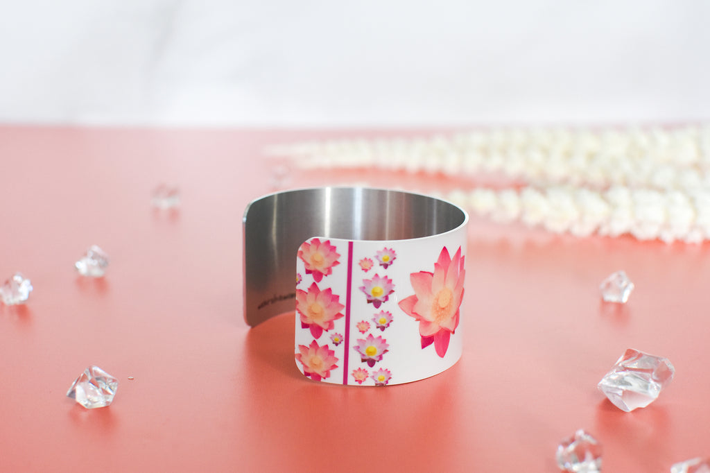 Side view of Pure Heart Lotus Cuff Bracelet