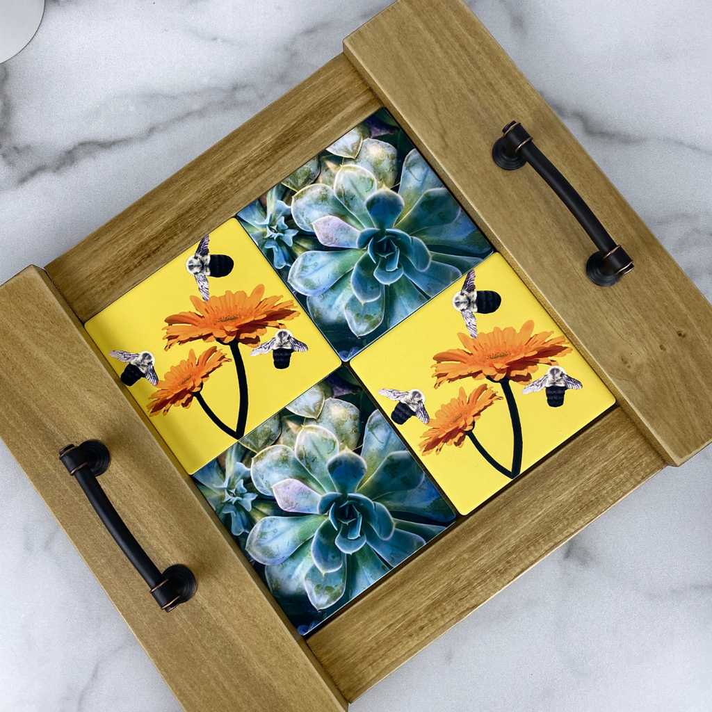 Succulent and Bee Coasters in Coaster Tray | Wear the Wonder