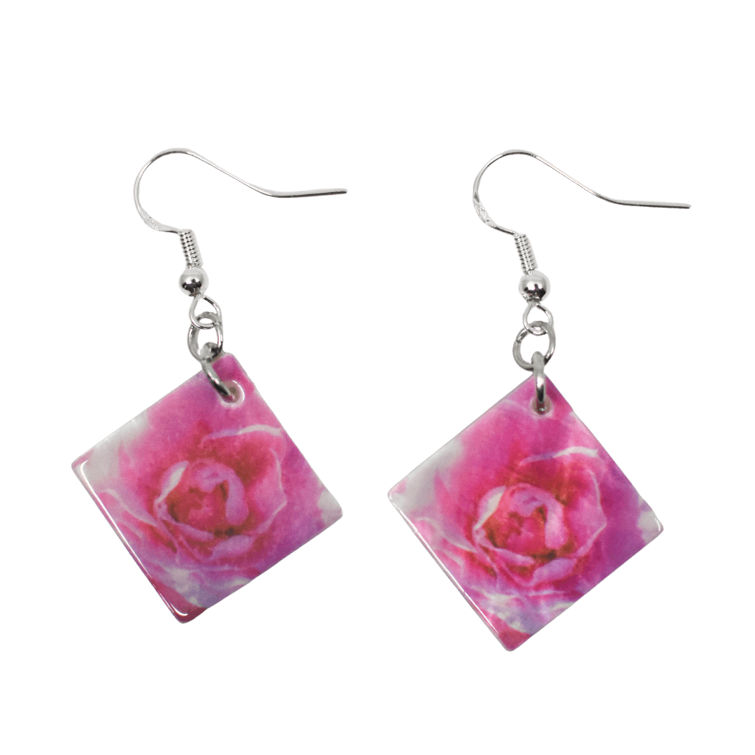 Front View of Bright Pink Rose Mother of Pearl Earrings - Transparent background - Wear the Wonder