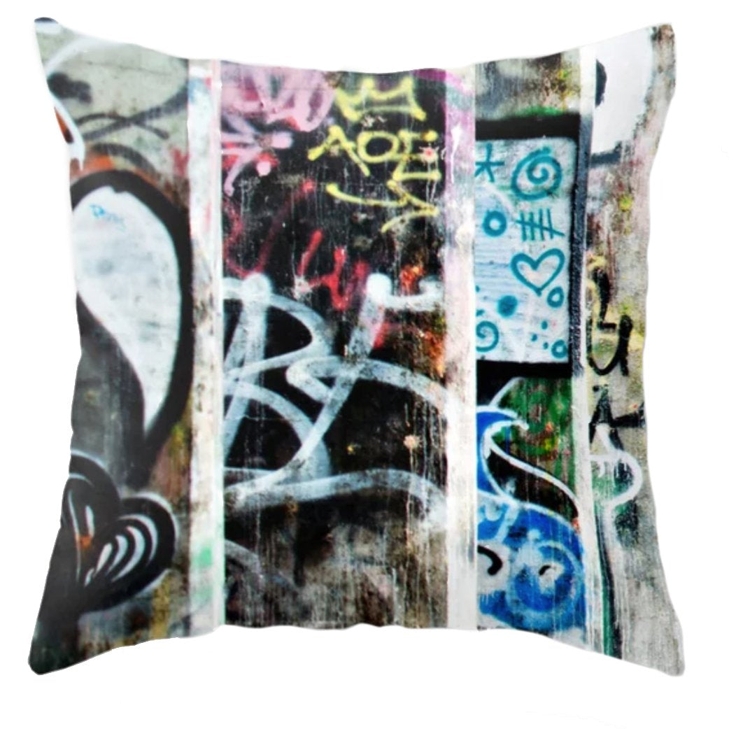 Express Yourself Graffiti Throw Pillow