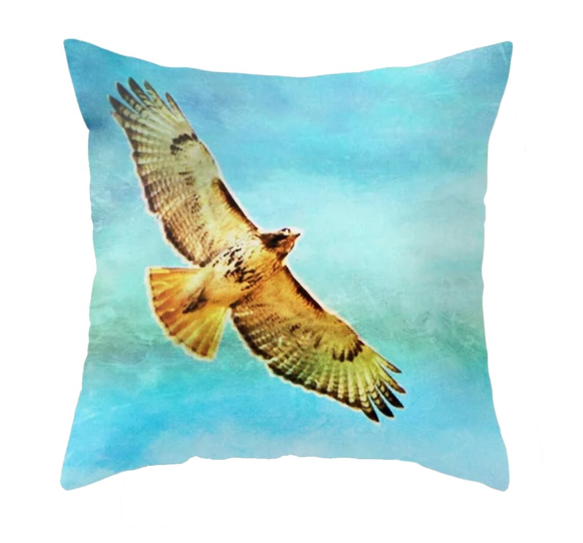 Soaring Redtail Throw Pillow - Wear the Wonder