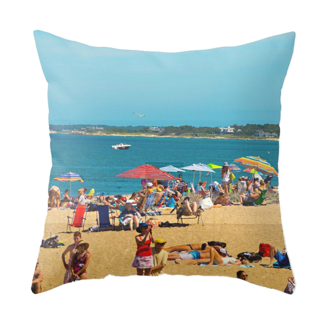 Hot Sun Crowded Beach Throw Pillow