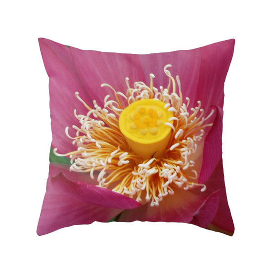 Hot Pink Queen Lotus Throw Pillow
