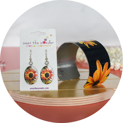 View 2 of Autumn Sunflower Earrings and Black Eyed Susan Cuff | Wear the Wonder