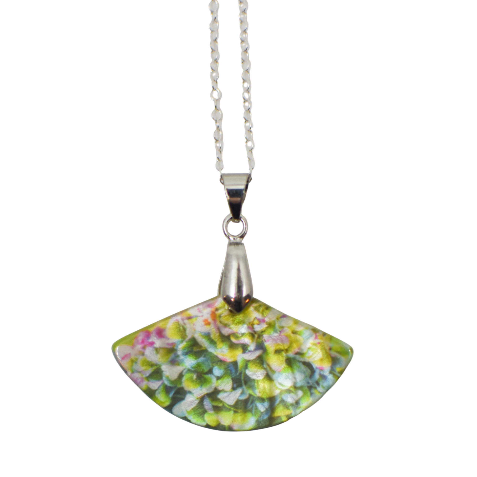 Standard view of Heavenly Hydrangea Mother of Pearl necklace | Wear the Wonder