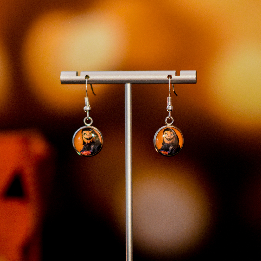 Pumpkin Head Resin Earrings