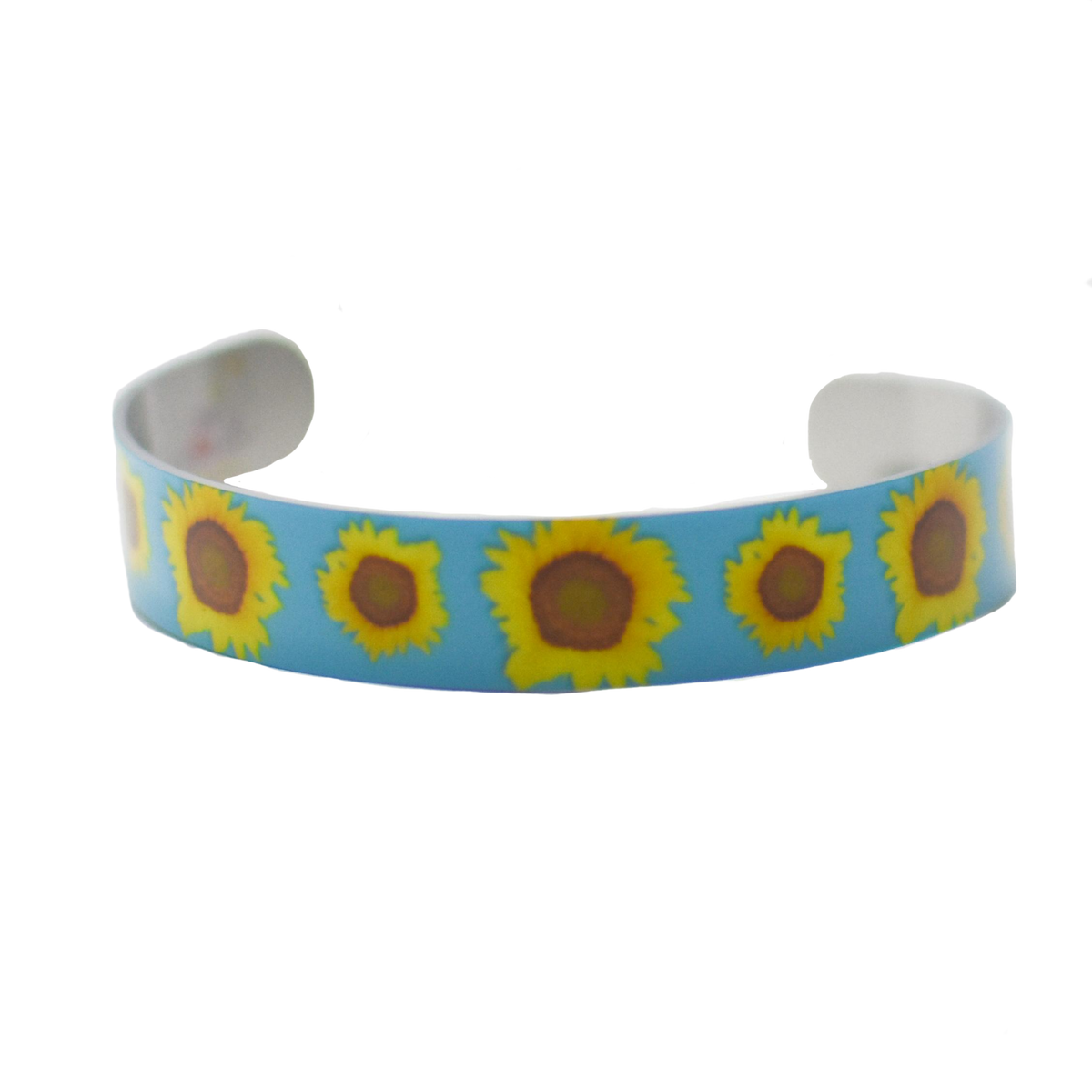 Standard view of Sunflower on Blue cuff bracelet | Wear the Wonder