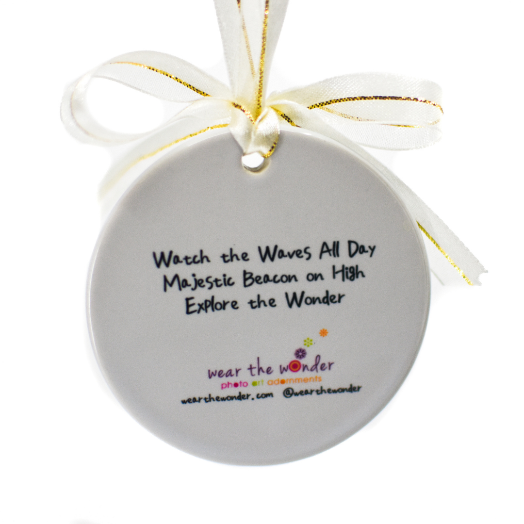 Haiku on the back of the Lighthouse Ornament | Wear the Wonder