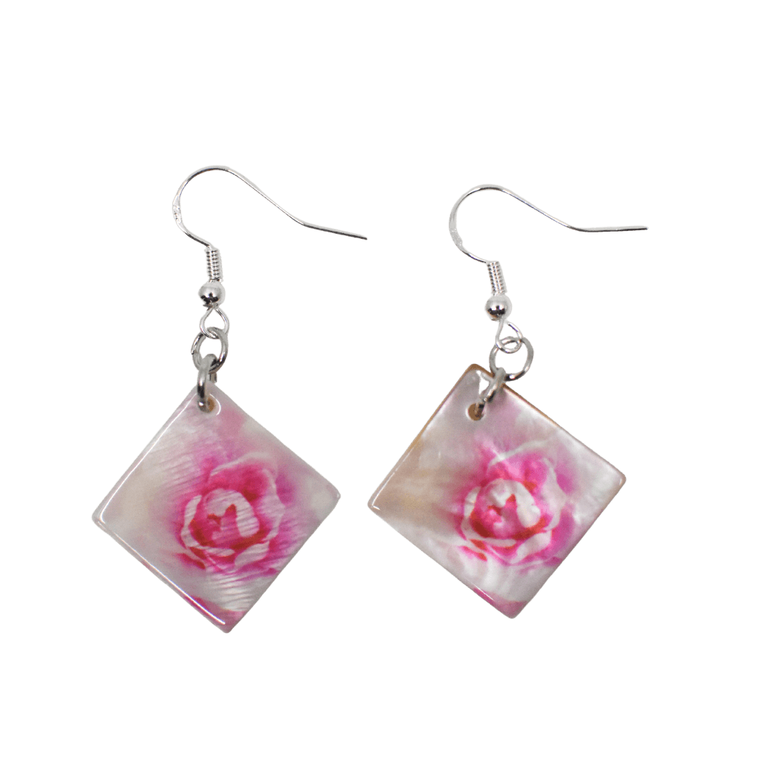 Front View of Light Pink Rose Mother of Pearl Earrings - Transparent background - Wear the Wonder