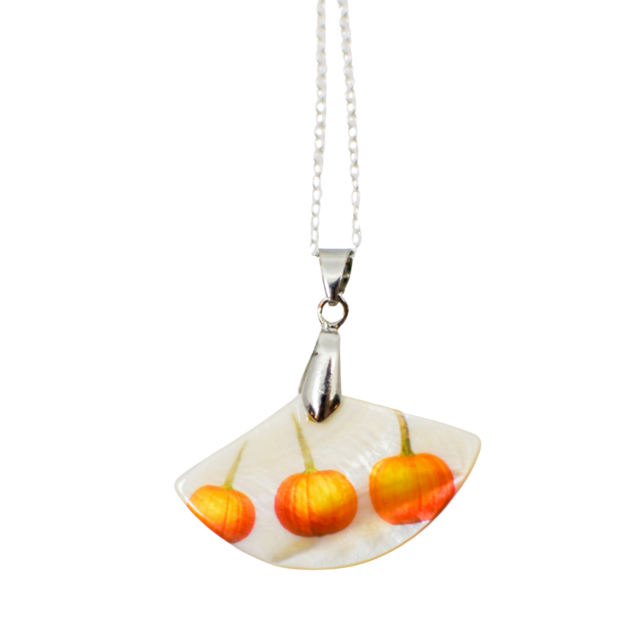 3 Lil Pumpkins Mother of Pearl Necklace