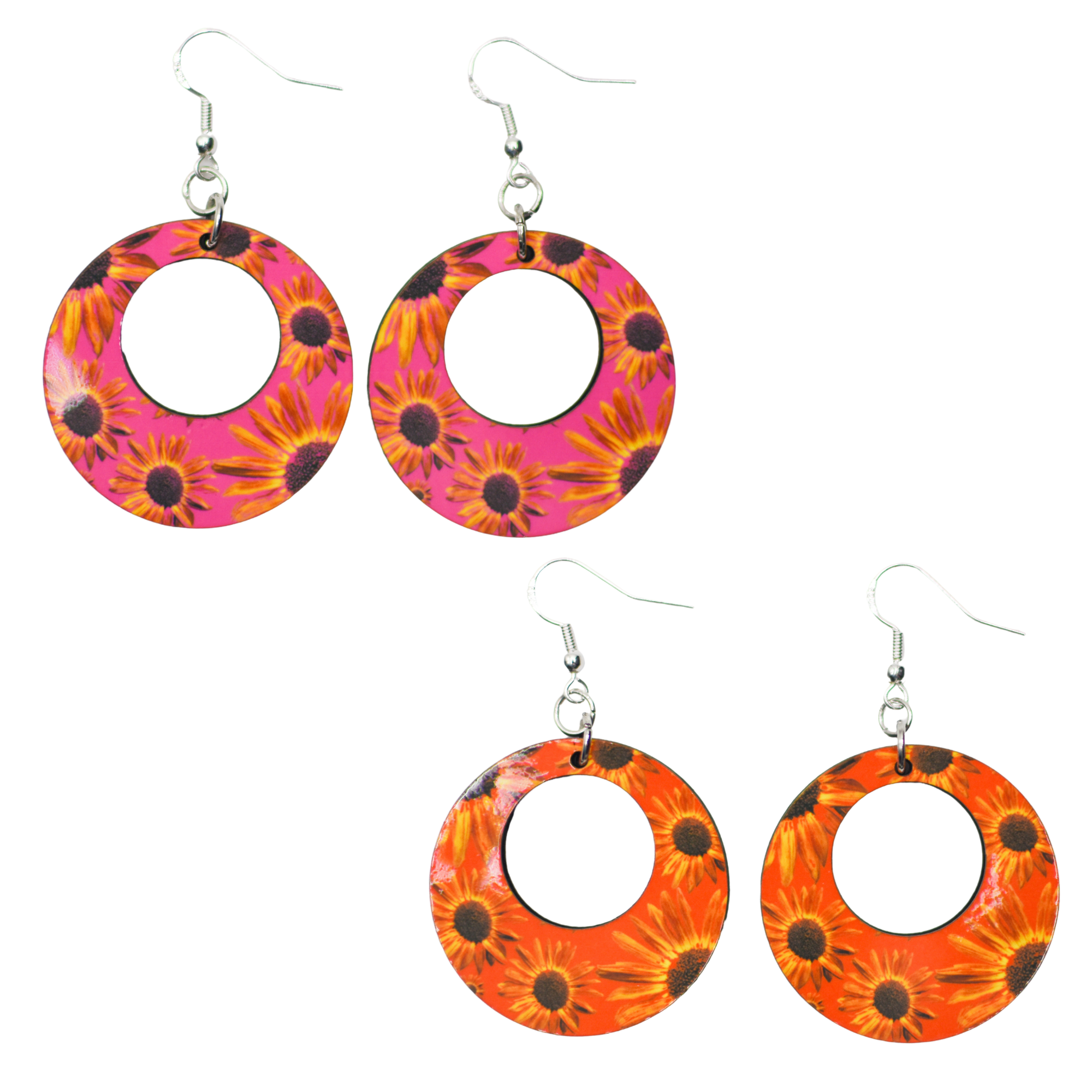 Standard view of Pink & Orange Retro Sunflower Earrings