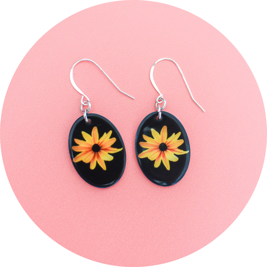 Standard View Black Eyed Susan Mother of Pearl Earrings | Wear the Wonder