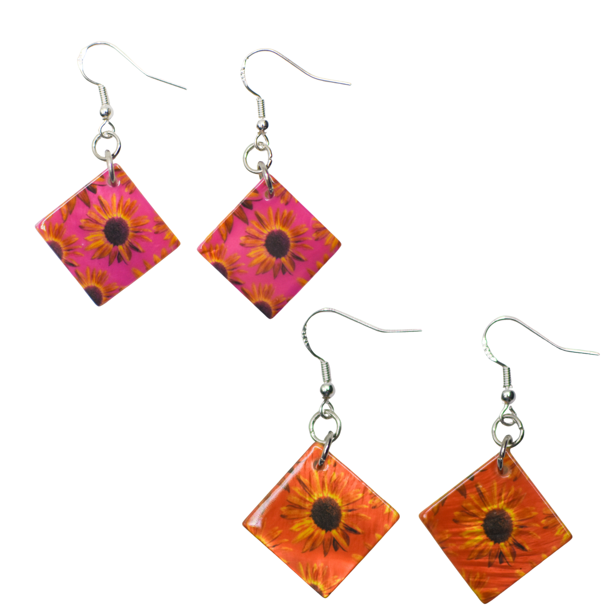 Standard view of Pink & Orange Sunflower Earrings | Wear the Wonder