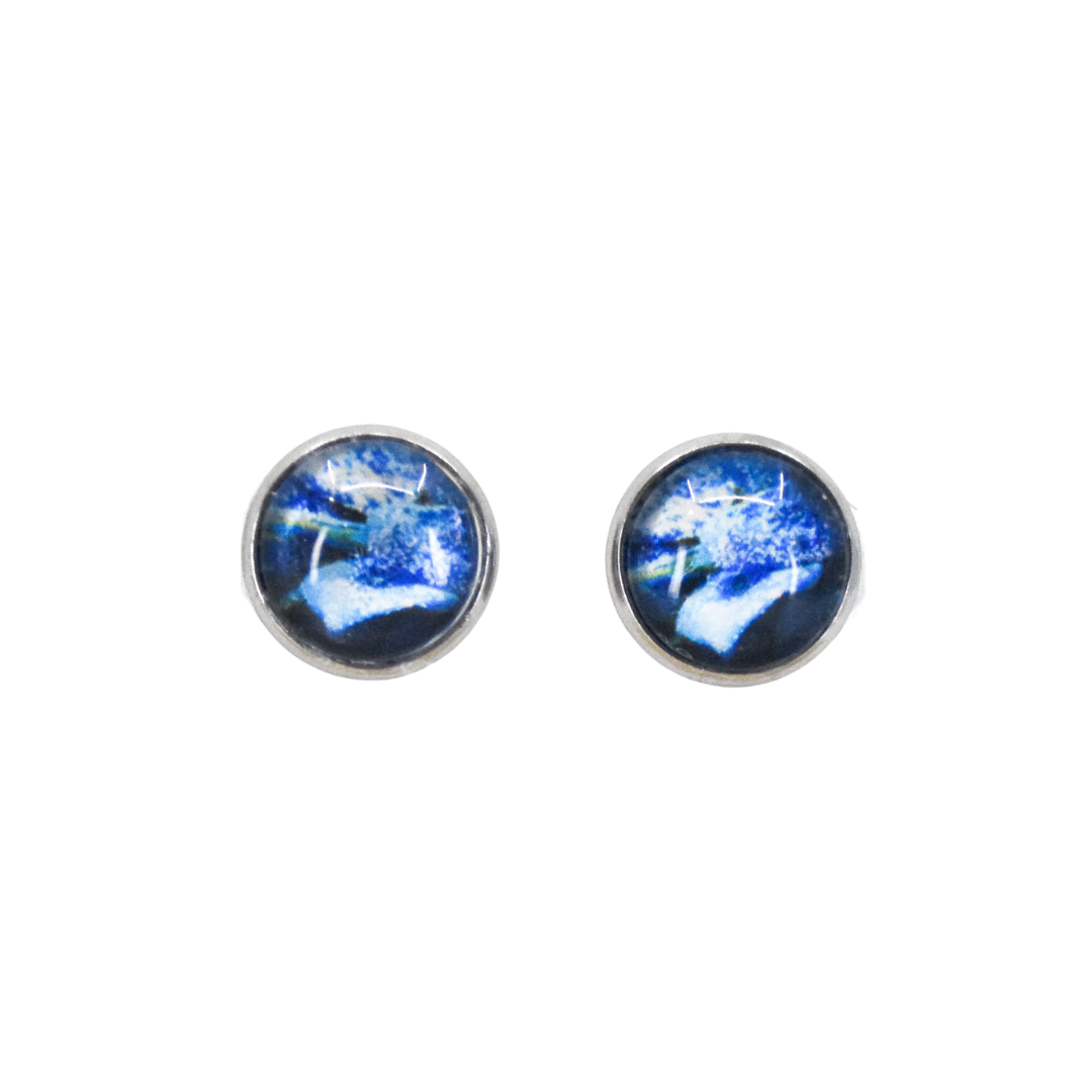 Front View of Blue Poinsettia Stud Earrings | Wear the Wonder