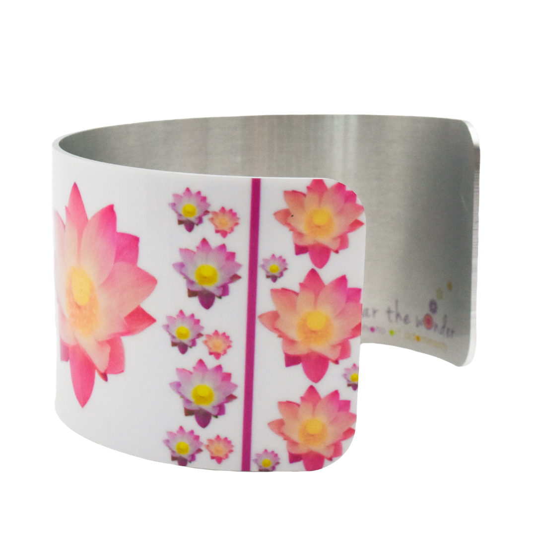 Side View of Pure Heart Lotus Wide Cuff Bracelet | Wear the Wonder