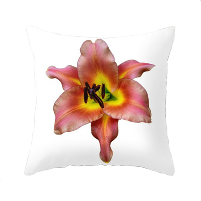 Standard View of Pink Lily Throw Pillow | Wear the Wonder
