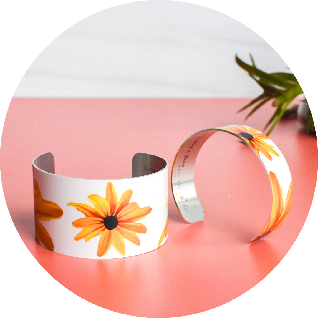 Black Eyed Susan Cuff Bracelet in wide and narrow styles | Wear the Wonder