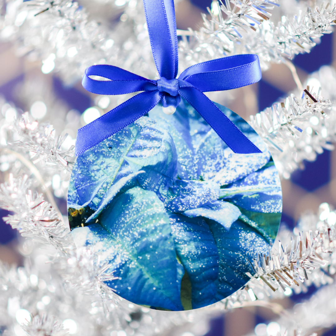 Blue Poinsettia Aluminum Ornament in Christmas Tree | Wear the Wonder