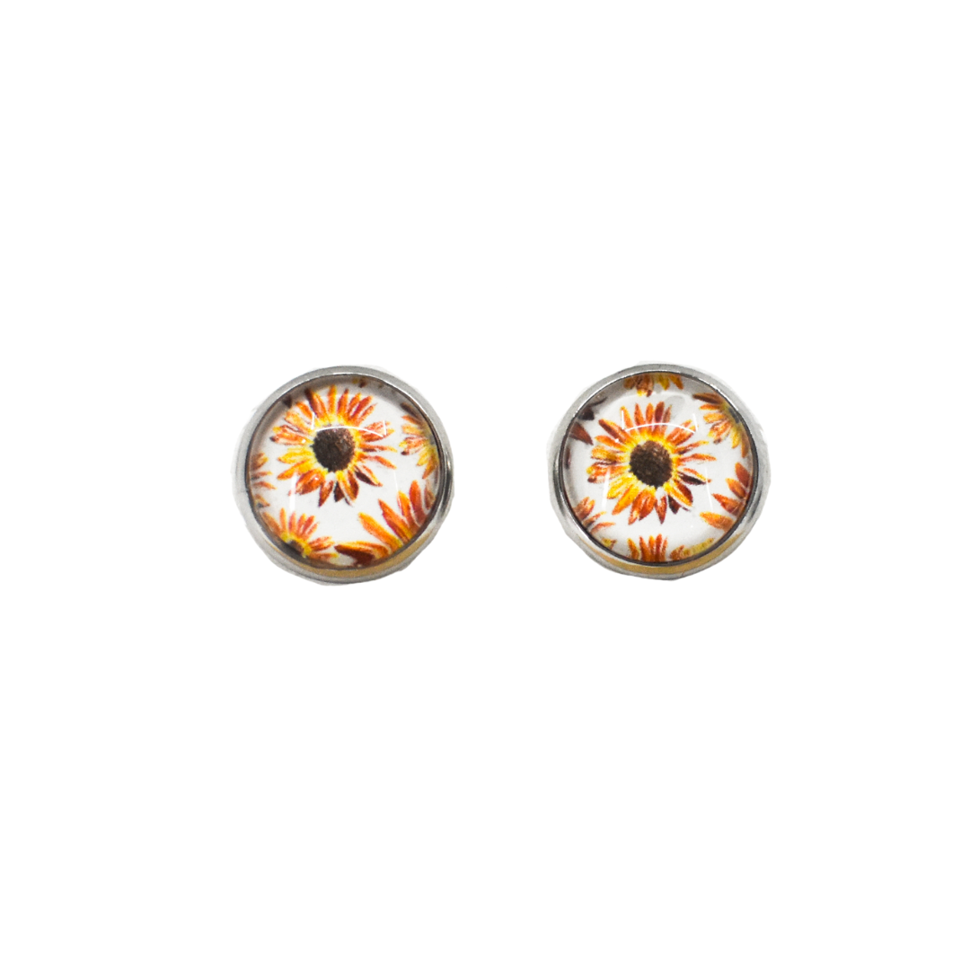 White Sunflower Stud Earrings | Wear the Wonder