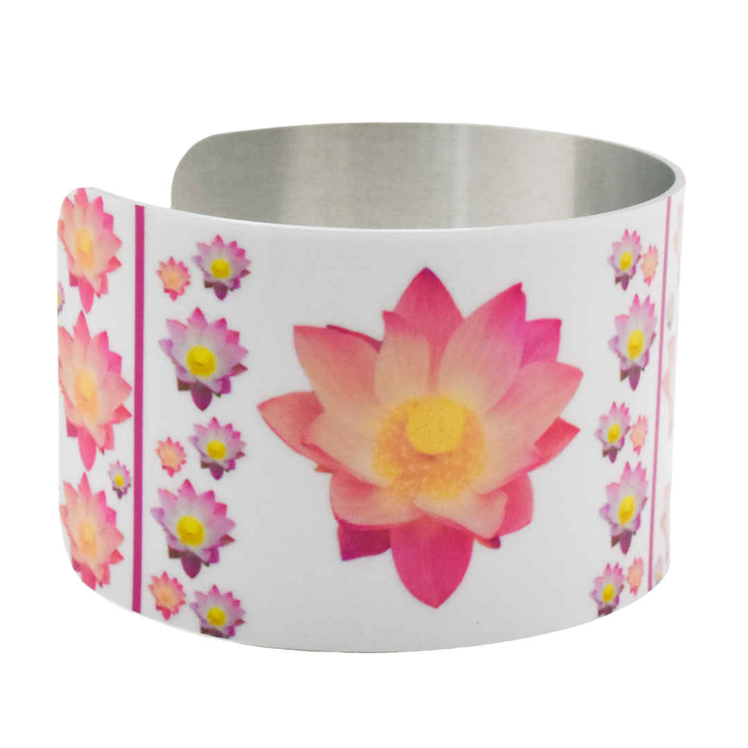 Another side view of Pure Heart Lotus Cuff Bracelet | Wear the Wonder