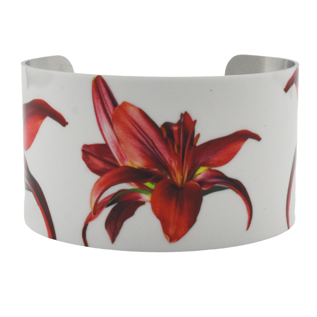 Crimson Lily Cuff Bracelet | Product Photo | Wear the Wonder