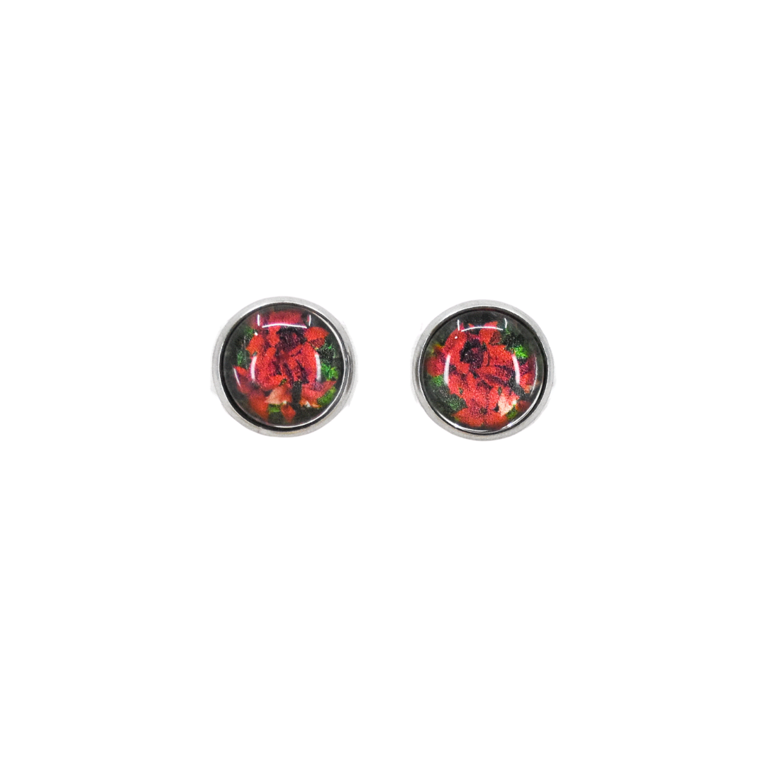 Classic Poinsettia Stud Earrings from the front | Wear the Wonder