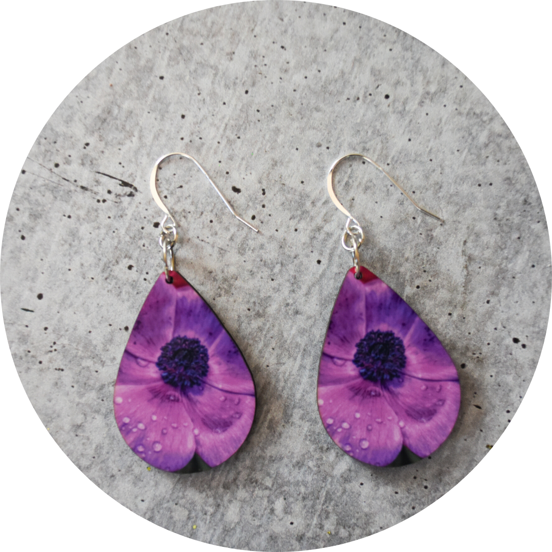 Bright Pansy Teardrop Earring - Wear the Wonder