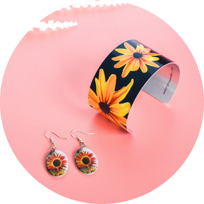 Autumn Sunflower Earrings and Black Eyed Susan Cuff | Wear the Wonder