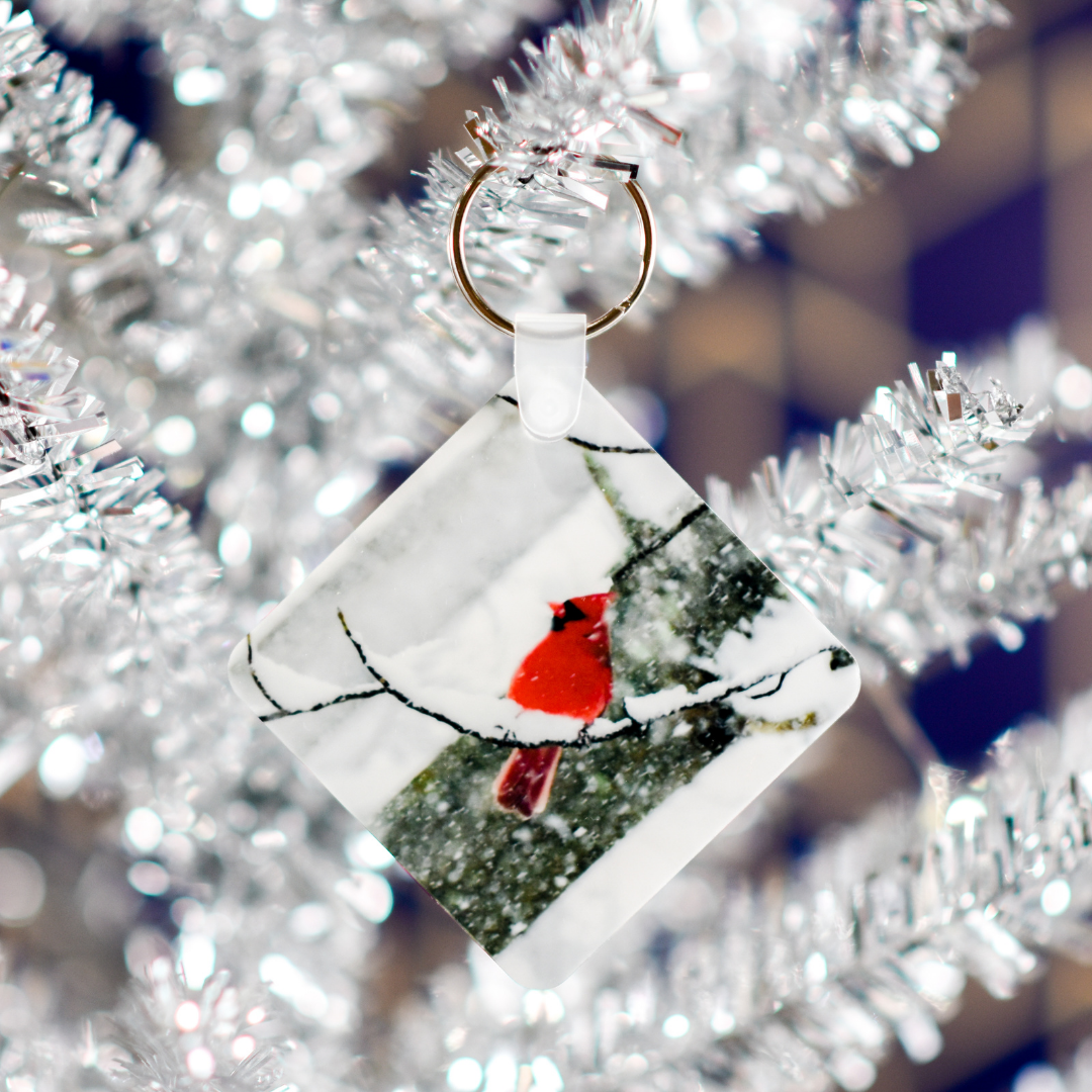 Angels Near Cardinal Keychain in a Christmas Tree | Wear the Wonder