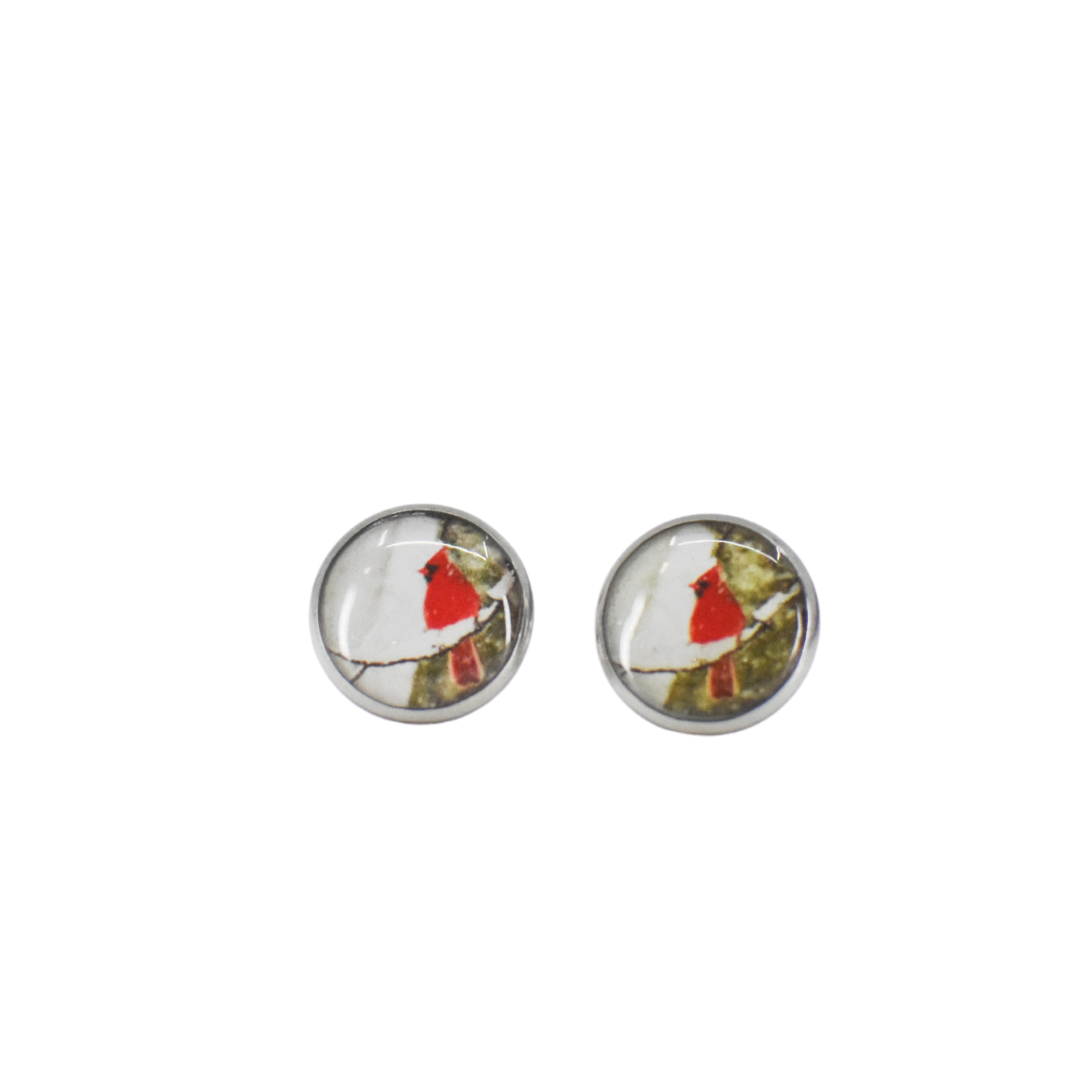 Cardinal Stud Earrings on white background | Wear the Wonder