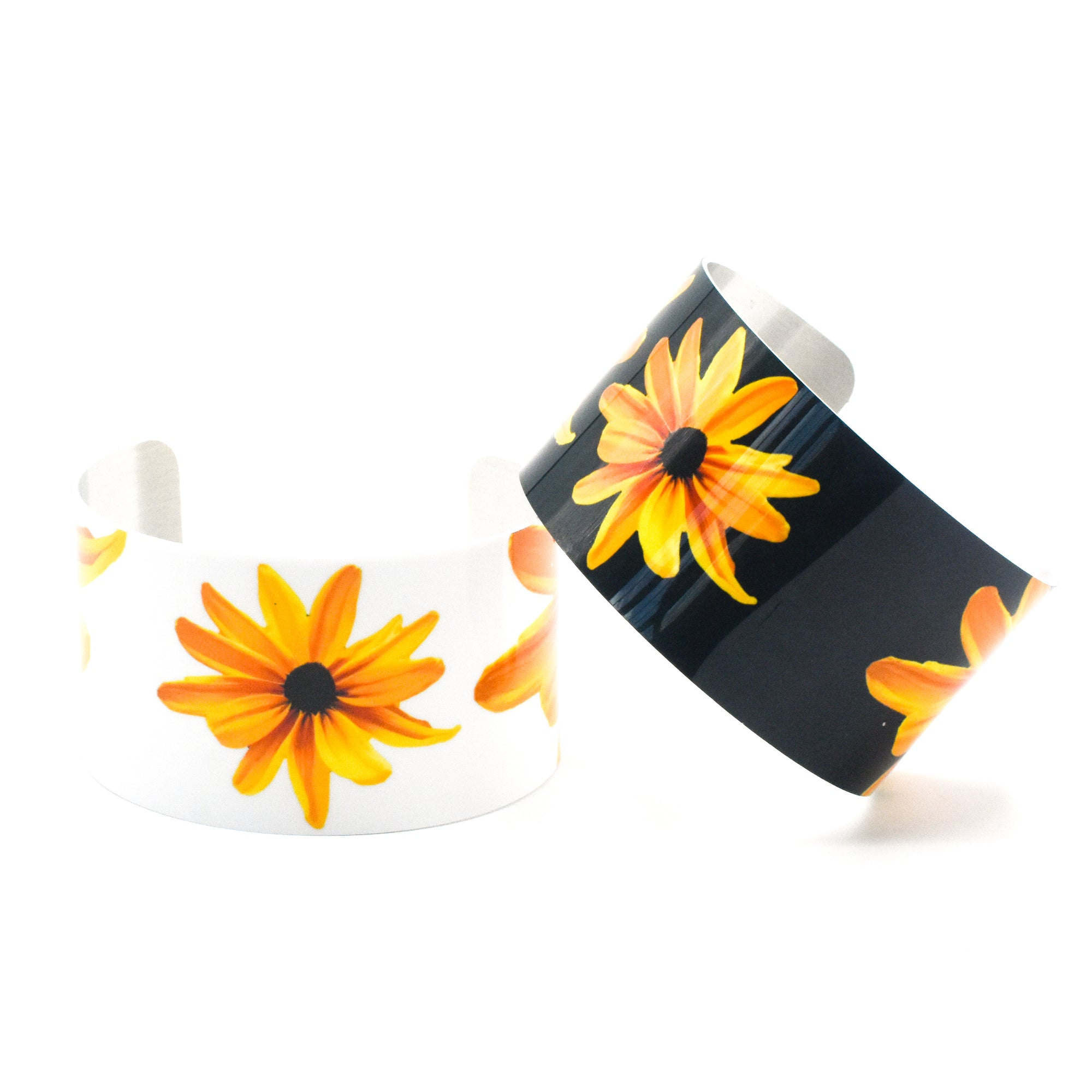 Black & White Black Eyed Susan Cuff Bracelets | Wear the Wonder