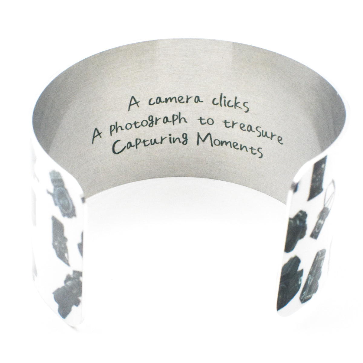 Inside haiku of Camera Girl Wide Cuff Bracelet | Wear the Wonder