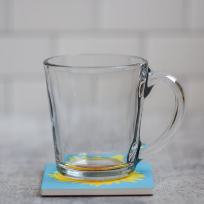 Sunflower coaster with coffee cup | Wear the Wonder