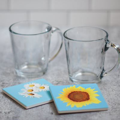 Set of 2 coasters | daisy and sunflower with coffee cups | Wear the Wonder
