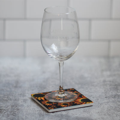 Black sunflower coaster with wine glass | Wear the Wonder