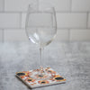 White sunflower coaster with wine glass | Wear the Wonder