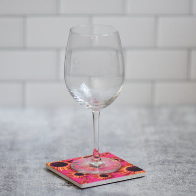 Pink sunflower coaster with wine glass | Wear the Wonder