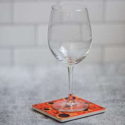 Orange sunflower coaster with wine glass | Wear the Wonder