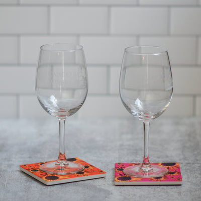 Pink & Orange sunflower coasters with wine glasses | Wear the Wonder