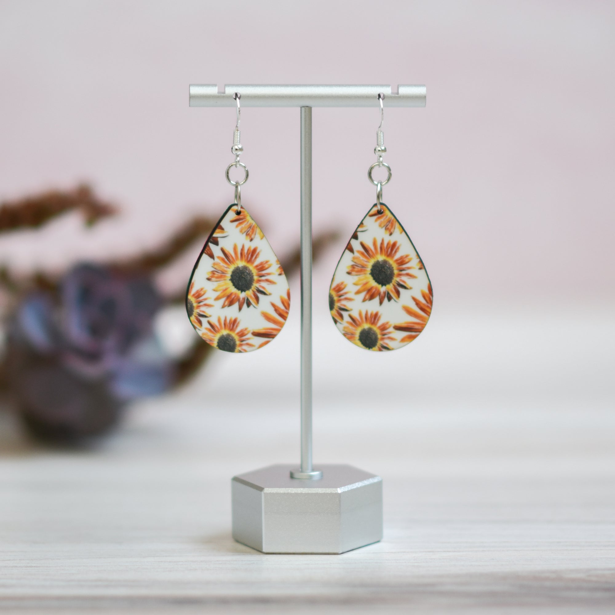 Standard view of Sunflower Teardrop Earrings | Wear the Wonder
